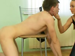 Ripped slave tenses his whole aching body while mistress is trampling him