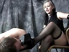 Human pet punished for not doing domme`s commands well