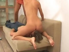 Longhaired guy enjoys a painful and humiliating treatment from two dominas addicted to trampling