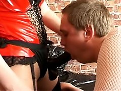 Blonde dominatrix makes her plump slave strip for her and fucks his butthole