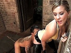Latex clad dominatrix fucks up pain slut and makes him her little bitch then leave his face covered in his own filth!