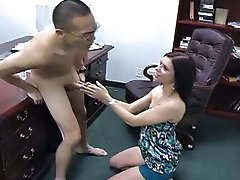 Isabella Amour punishes a slacking employee with devastating groin kicks